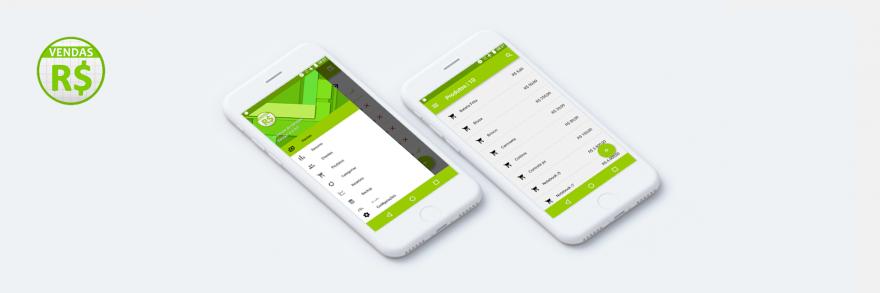 Mockup do aplicativo Controle de Vendas no celular